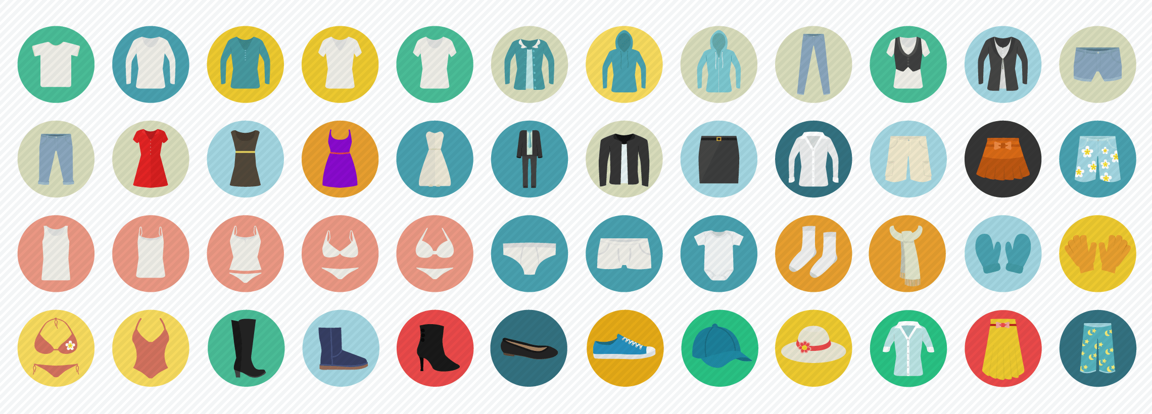 Clothes Fashion Flat Icons