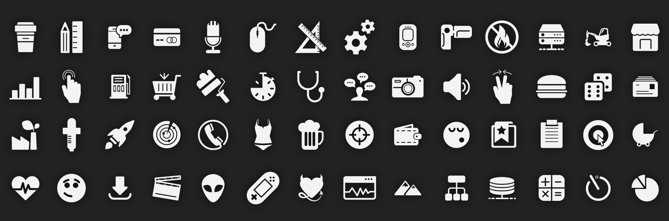 Glyph Icons Set Vector