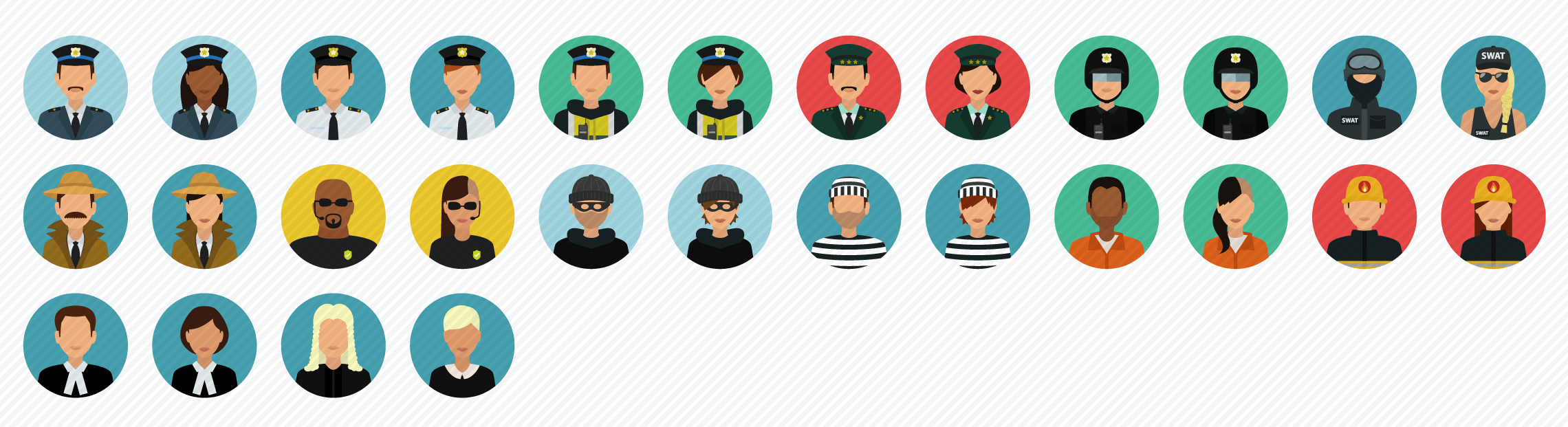 People_Crime_Protection flat icons