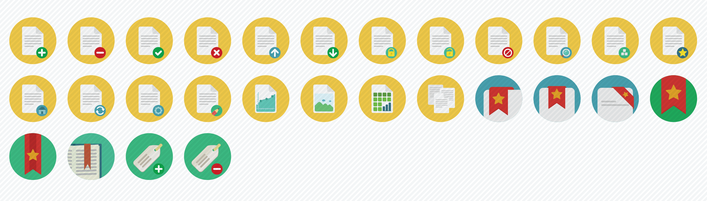 documents-flat-icons-set
