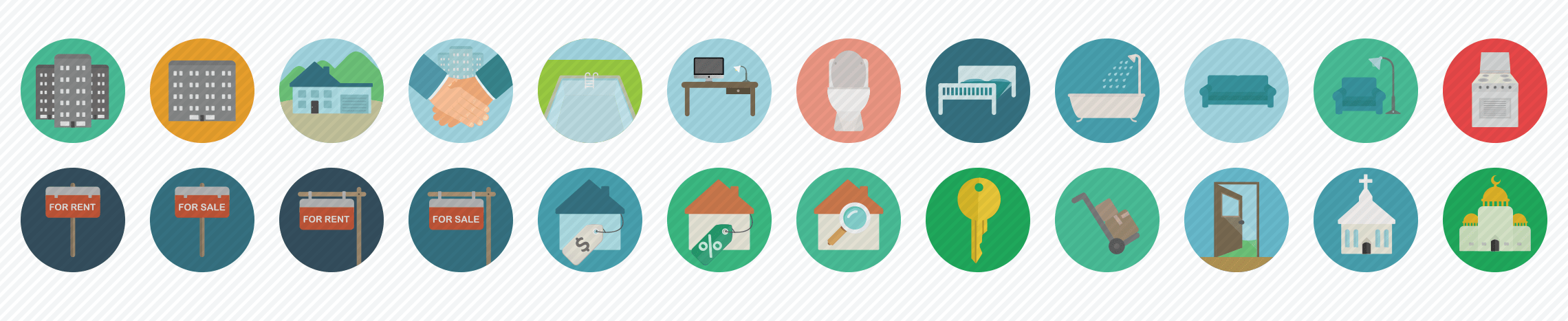 real-estate-flat-icons-set