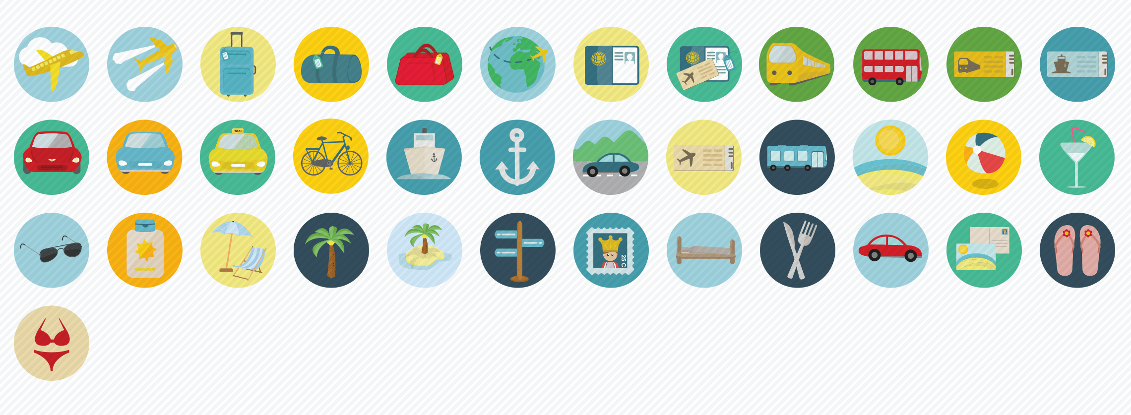 travel flat icons set