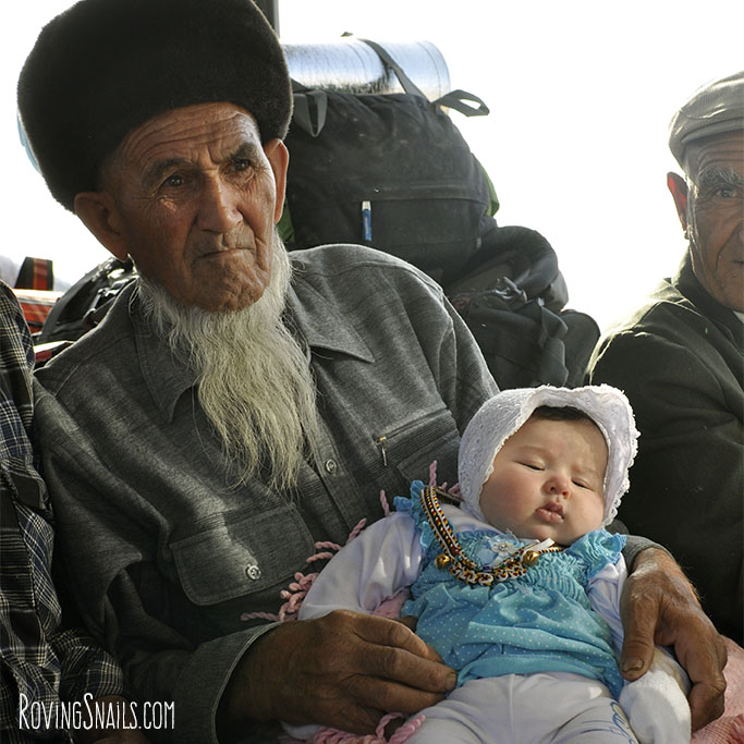 Turkmenistan people grandfather and child