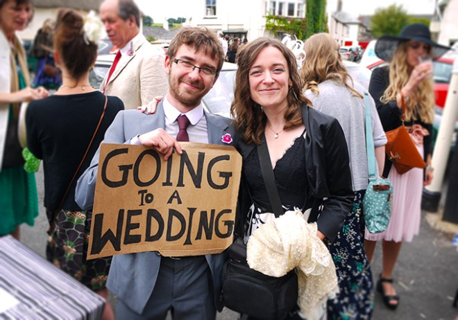 Ania and Jon after hitchhiking to a wedding in Devon