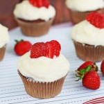Chocolate Strawberry Cupcakes with Mascarpone Frosting
