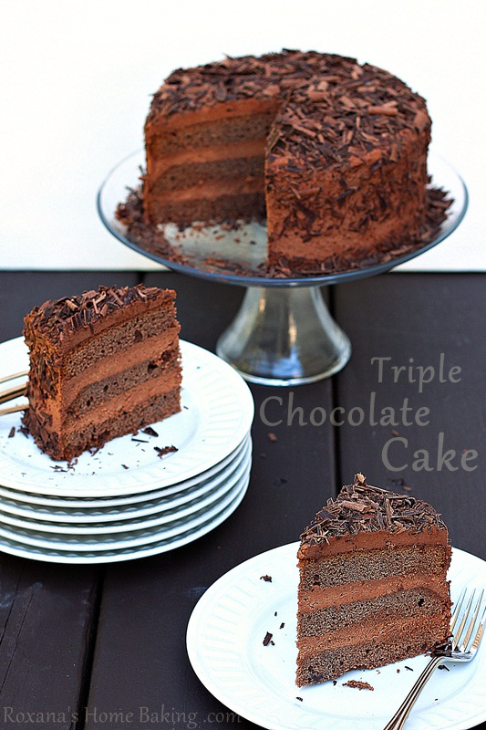 Triple Chocolate Layer Cake from Roxanashomebaking.com