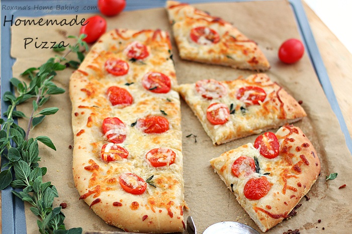 Cheese pizza with homemade pizza dough