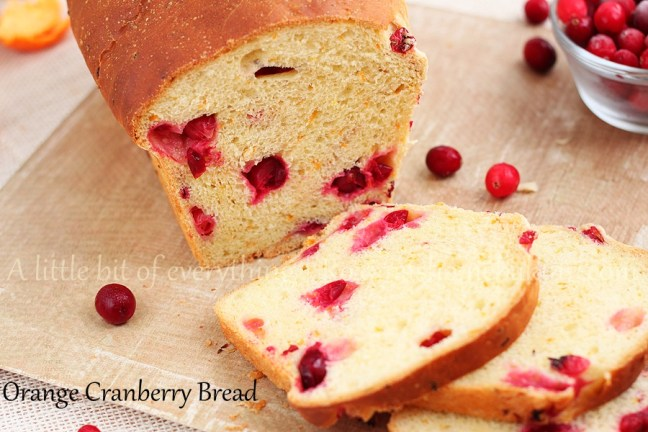 This Orange Cranberry Bread from Roxanashomebaking.com combines the sweet and refreshing citrus flavor of freshly squeezed orange juice and orange zest with the tartness of frozen cranberries, sweetened with just a bit with honey.
