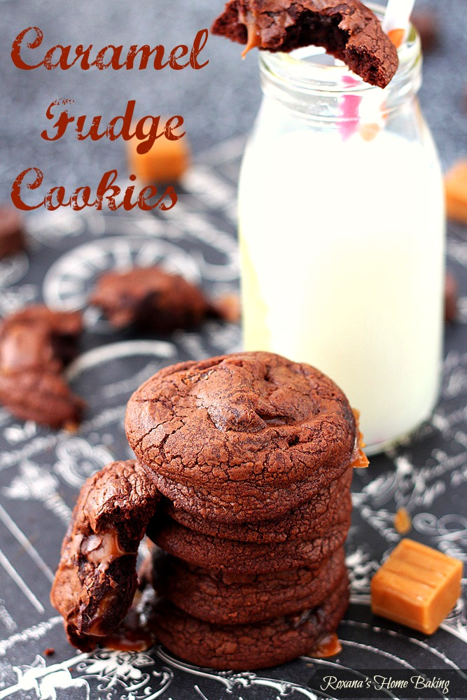 Caramel loaded fudge brownie cookies from Roxanashomebaking.com Rich chocolate-y cookies loaded with chopped mini rolos and gooey caramels