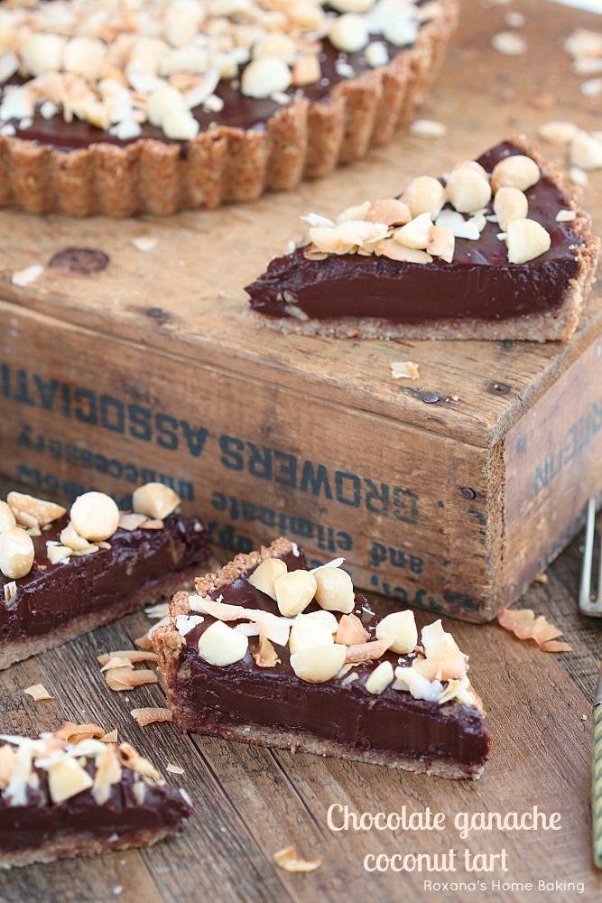 Chocolate ganache coconut tart  - flaky almond tart crust filled with silky, decadent chocolate coconut ganache.