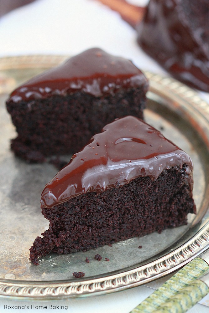 Incredible delicious old-fashion coffee chocolate cake with coffee chocolate ganache made with a secret ingredient that keeps it moist and tender and brings out all the wonderful flavors!