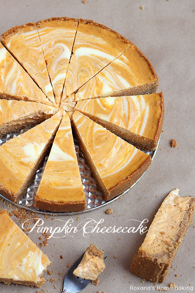 Two fall favorite desserts - pumpkin pie meets velvety cheesecake in this scrumptious marble pumpkin cheesecake.