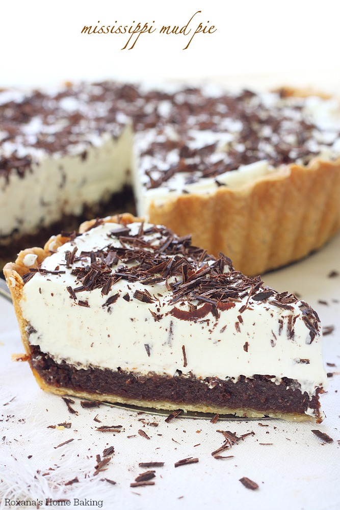 Flaky pie crust, incredible rich chocolate layer and light whipped cream make this Mississippi mud pie quite impossible for anyone to resist it.
