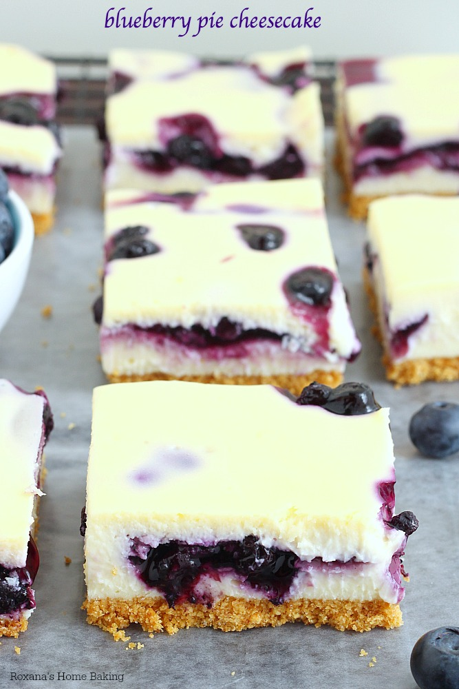The ultimate blend of flavors and textures, these cheesecake bars combine smooth as silk cheesecake with blueberry pie filling. You will not be able to stop at just 1 bite!