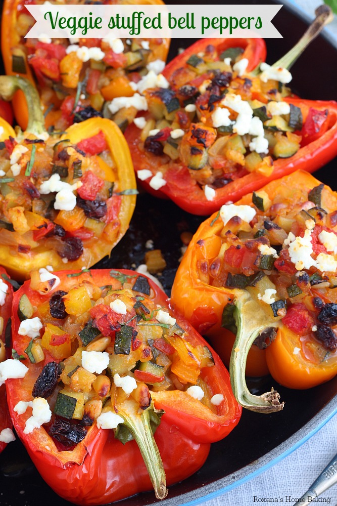 Packed with a tasty mixture of vegetables, pine nuts and raisins, these flavorful stuffed bell peppers are perfect for a easy weeknight dinner.