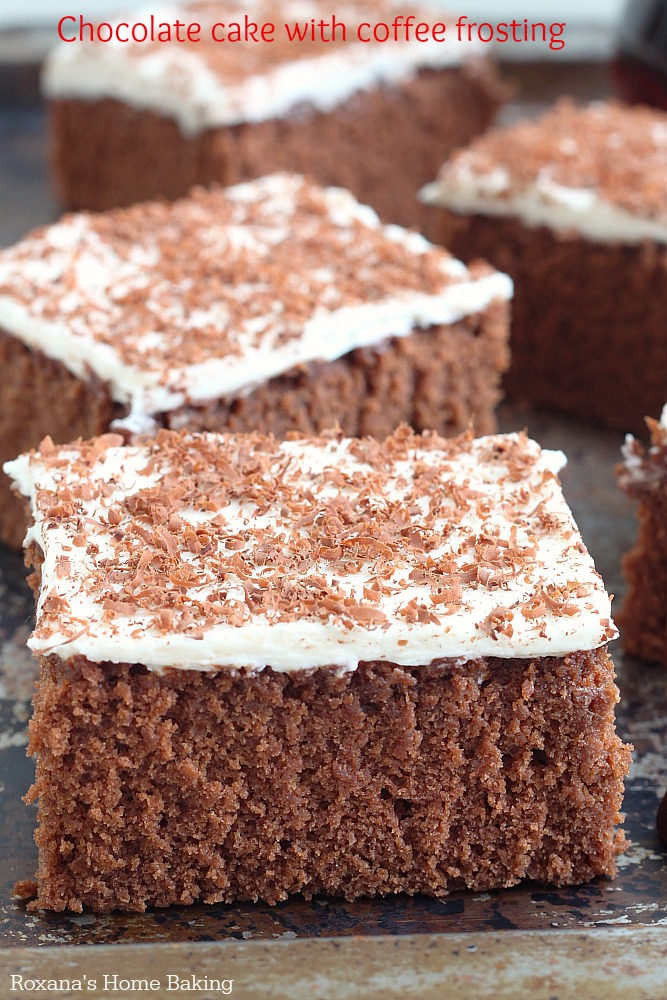 Light and fluffy cake with a soft and tender crumb, this chocolate cake relies on the rich flavor of cocoa powder complemented with thin layer of coffee frosting.