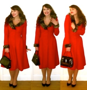 Collectif Ashley red coat Roxy Vintage Style