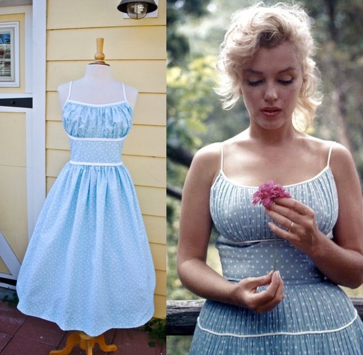 Blue polka dot Marilyn dress