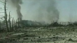 Video still of Hezbollah TV's footage claiming to show the aftermath of an alleged Israeli airstrike on a military facility near Damascus, on May 5 2013
