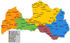 Карта исторических регионов Латвии