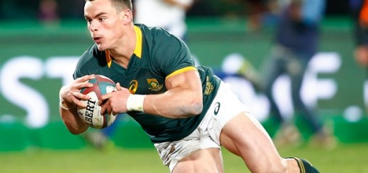 Jesse Kriel of the Springboks dives to score a try during the rugby test match between South Africa's Springboks and New Zealand's All Blacks