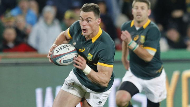 Jesse Kriel breaks through the All Blacks defence to score a try, in Johannesburg