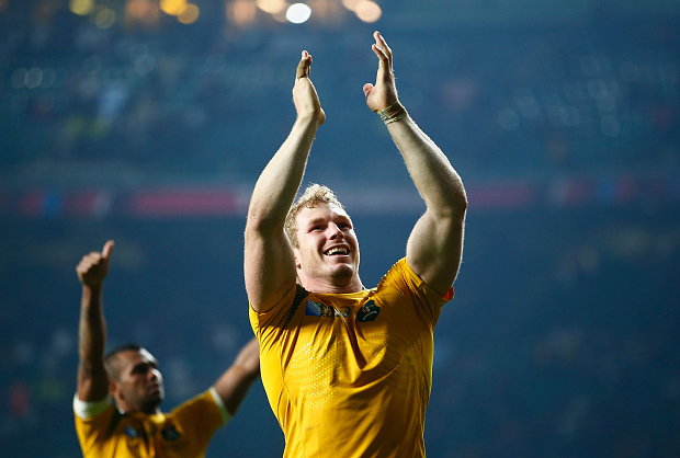 LONDON, ENGLAND - OCTOBER 03: David Pocock of Australia celebrates victory after the 2015 Rugby World Cup Pool A match between England and Australia at Twickenham Stadium on October 3, 2015 in London, United Kingdom.  (Photo by Mike Hewitt/Getty Images)