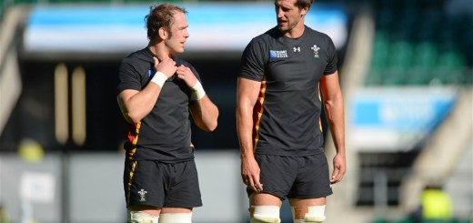 09.10.15 - Wales Rugby Training -Alun Wyn Jones and Luke Charteris during training.