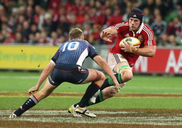 MELBOURNE, AUSTRALIA - JUNE 25: Sean O'Brien of the Lions takes on Bryce Hegarty during the International Tour Match between the Melbourne Rebels and the British & Irish Lions at AAMI Park on June 25, 2013 in Melbourne, Australia. (Photo by David Rogers/Getty Images)