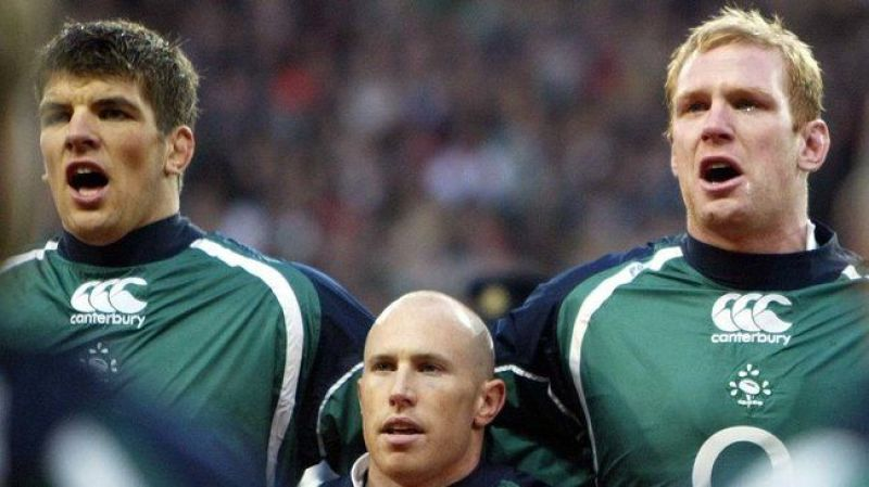 Donncha O'Callaghan, Peter Stringer and Paul O'Connell with tears in his eyes during the national anthem 24/2/2007