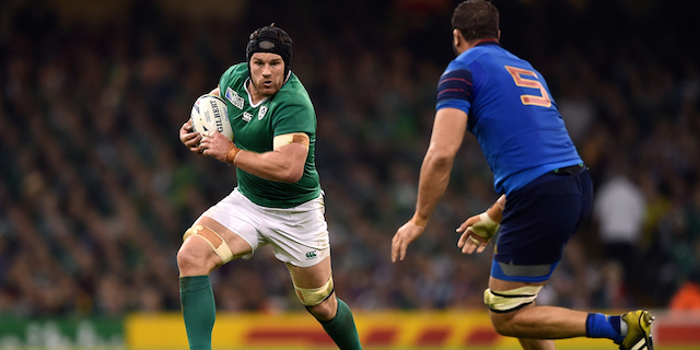 Sean O'Brien of Ireland goes on the attack. Rugby World Cup Pool D match between France and Ireland on October 11, 2015 at the Millennium Stadium in Cardiff, Wales. Photo by: Patrick Khachfe / Onside Images