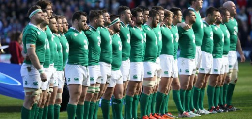 Ireland players line up for the anthems ahead of the Six Nations international rugby union match between Scotland and Ireland at Murrayfield in Edinburgh, Scotland on March 21, 2015.  AFP PHOTO / IAN MACNICOLIan MacNicol/AFP/Getty Images