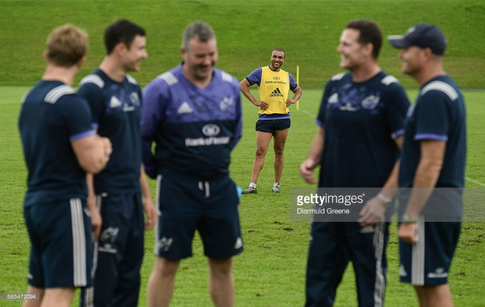 Limerick , Ireland - 3 August 2016; Simon Zebo of Munster is seen behind members of the Munster coaching team, from left to right, head coach Anthony Foley, technical coach Felix Jones, scrum coach Jerry Flannery, director of rugby Rassie Erasmus, and defence coach Jacques Nienaber after Munster Rugby Squad Training at University of Limerick in Limerick. (Photo By Diarmuid Greene/Sportsfile via Getty Images)