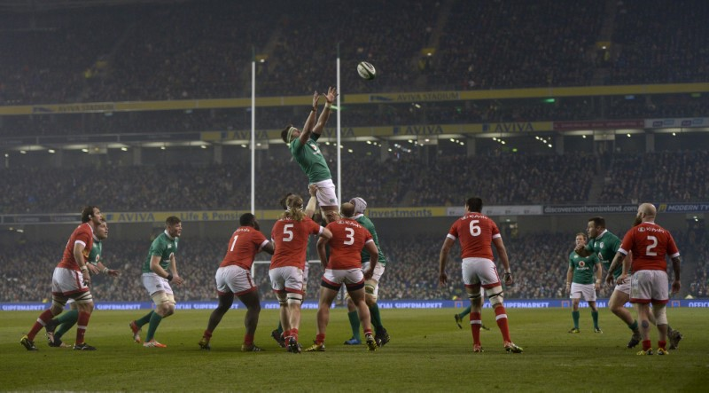 Ireland's Billy Holland receives the ball from a lineout