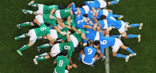 DUNEDIN, NEW ZEALAND - OCTOBER 02:  The Ireland and Italy forwards pack down for a scrum during the IRB Rugby World Cup Pool C match between Ireland and Italy at Dunedin Stadium on October 2, 2011 in Dunedin, New Zealand.  (Photo by Mark Kolbe/Getty Images)