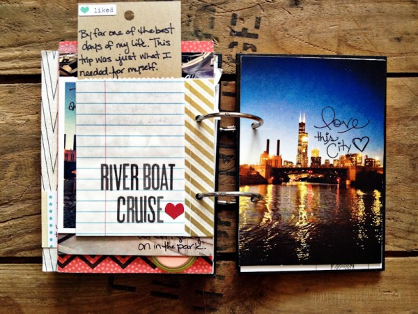 I added a small bag with a journaling tag to write about the river boat cruise experience and then ended the book with a lovely picture of Chicago at night from the water.