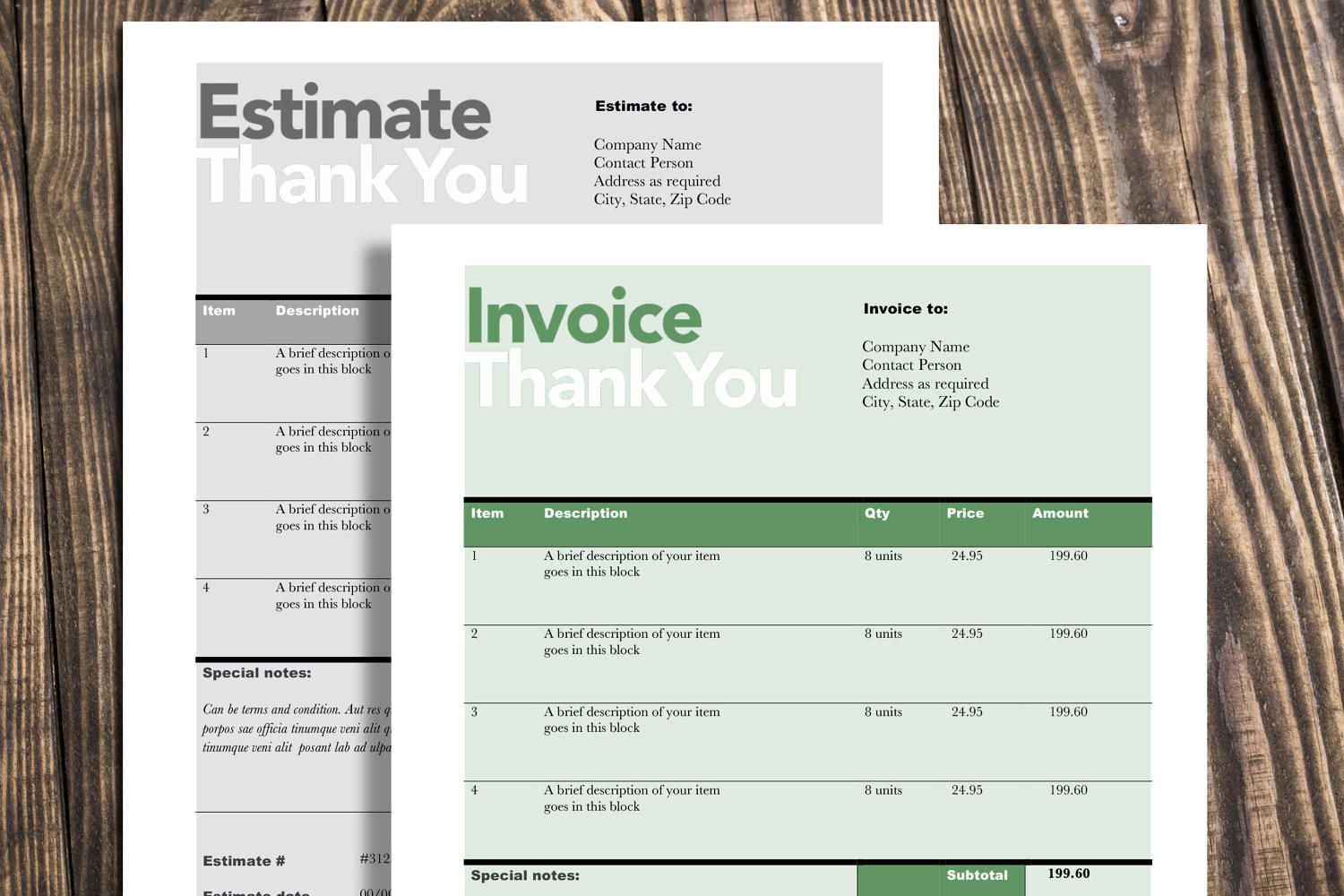 Editable Invoice   Estimate Template   Rumble Design Store Printable Invoice Estimate template  Editable Template  Invoice Template