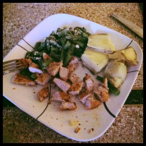 Garlic & herb grilled pork, yellow sweet potatoes, and green beans