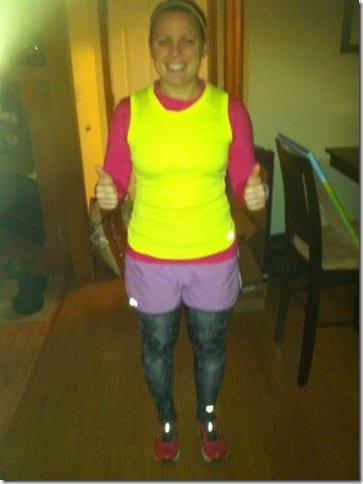 ashley leggings under shorts 598x800 thumb Running Fashion Don'ts   Brooks Running Gear Makeover