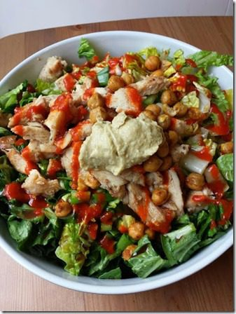 epic salad with sabra hummus and sriracha 376x502 thumb Scenes from Saturday