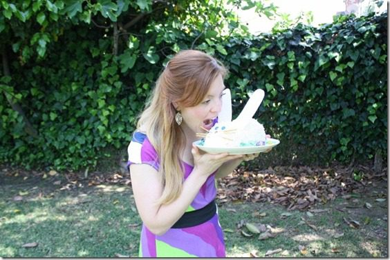 eating bunny cake thumb Meatless Monday–How to Make a Bunny Cake and Running in Orange County