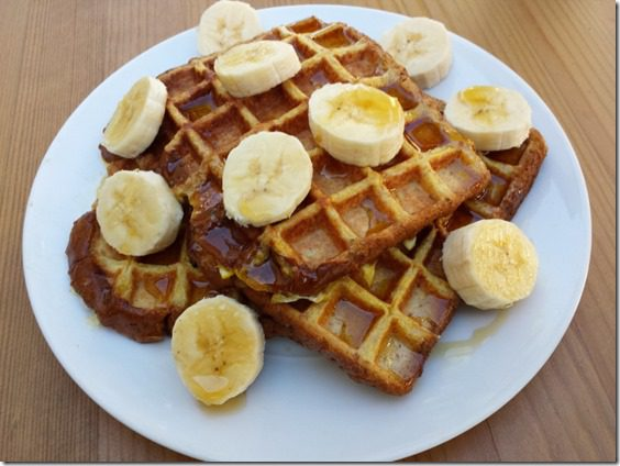 french waffle recipe with bananas and egg whites 800x600 thumb French Toast Waffles Recipe–Whole Grain, High Protein Breakfast