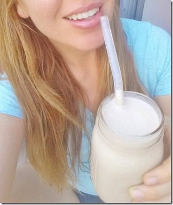 sipping a peanut butter protein smoothie 450x800 thumb Peanut Butter Protein Smoothie–without Protein Powder