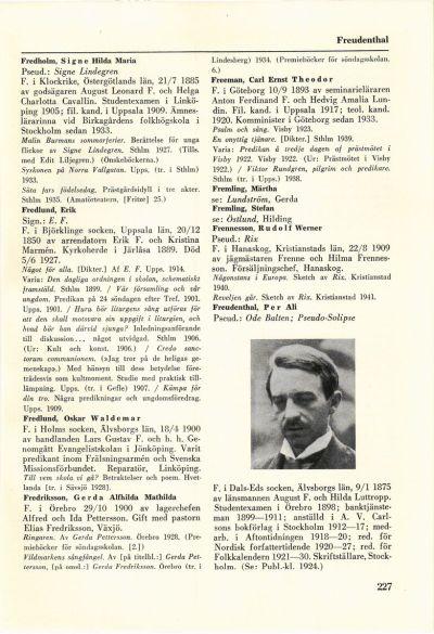 227 (Svenskt författarlexikon / 1. 1900-1940 A-Ö)