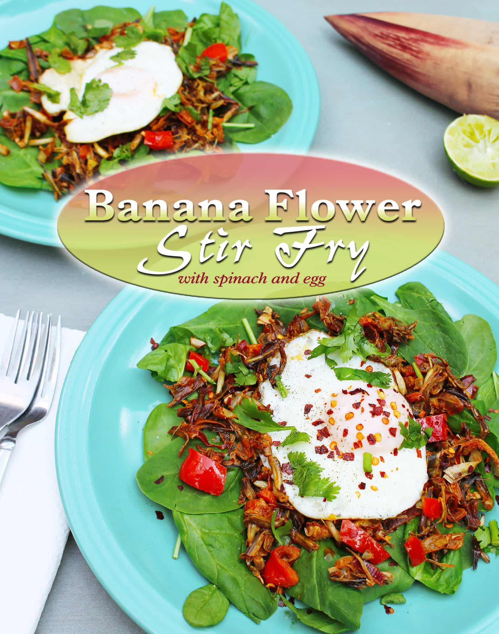 banana flower stir fry served with salad
