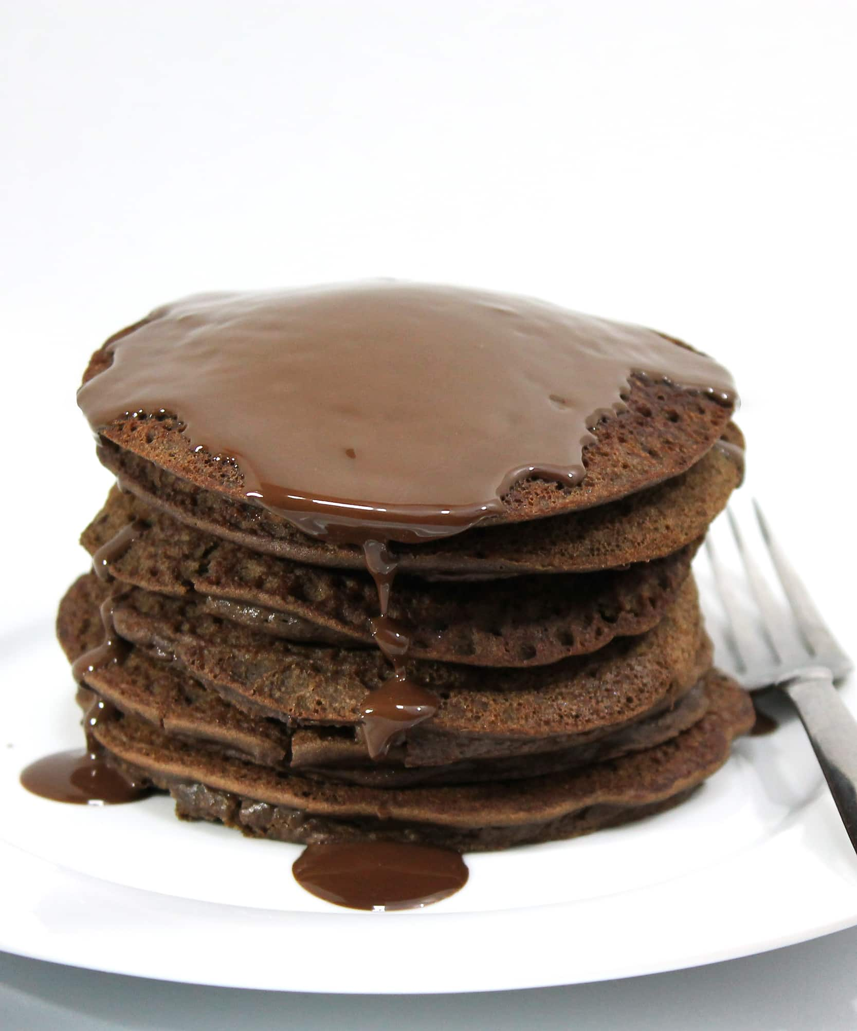 healthy chocolate lentil pancakes with chocolate sauce