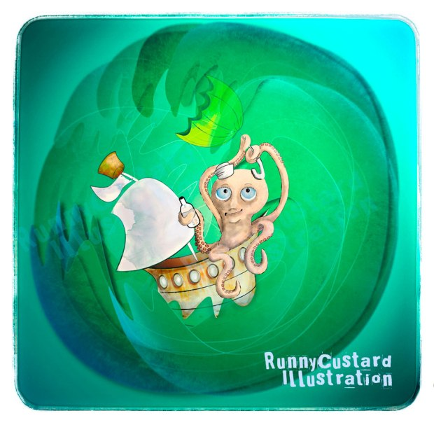 Octopus in a boat on stormy seas illustration.