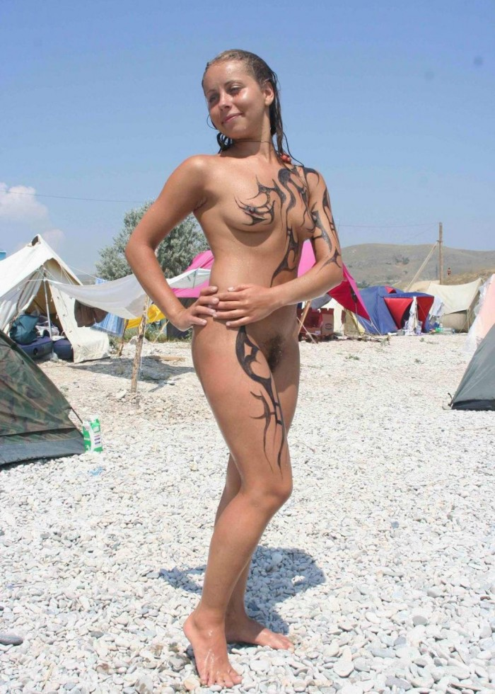 Russian hairy girl naked on beach