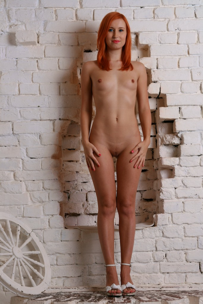 Skinny russian redhead with small tits