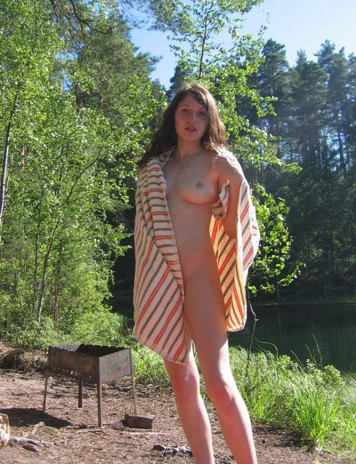 Sexiest russian amateur teen girl with amazing boobs and hairy pussy outdoors